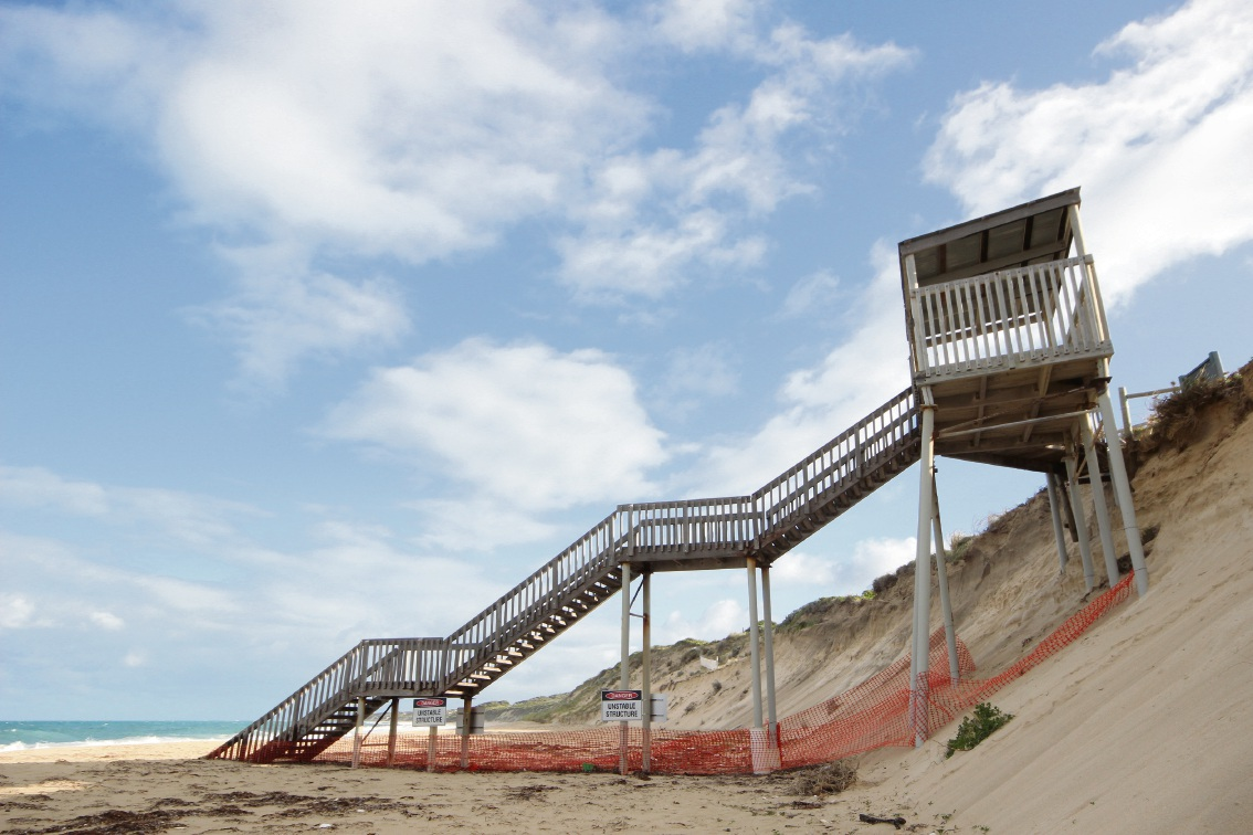 Unlike the previous wooden stairs, the proposed beach access stairs will be made of fibre reinforced plastic.