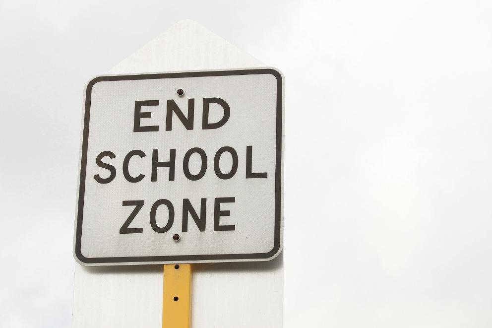 The familiar school zone sign is no longer at Ridgewood Boulevard.