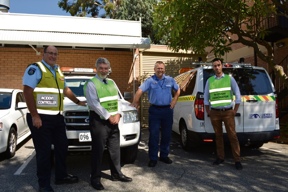 Department of Fire and Emergency Services district officer Graham Sears, Town of Bassendean community development director Graeme Haggart, Kiara Police officer-in-charge Mark Stoneman and City of Bayswater local recovery co-ordinator Michael Worthington.