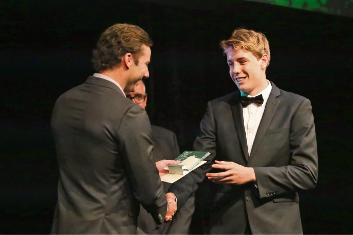 Subiaco Floreat's Cameron Green receives the Male Rising Star Award at the Lawrie Sawle Medal Night.