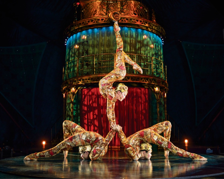 Odgerel Byambadorj with Cirque du Soleil contortionists in Kooza. Picture: Matt Beard