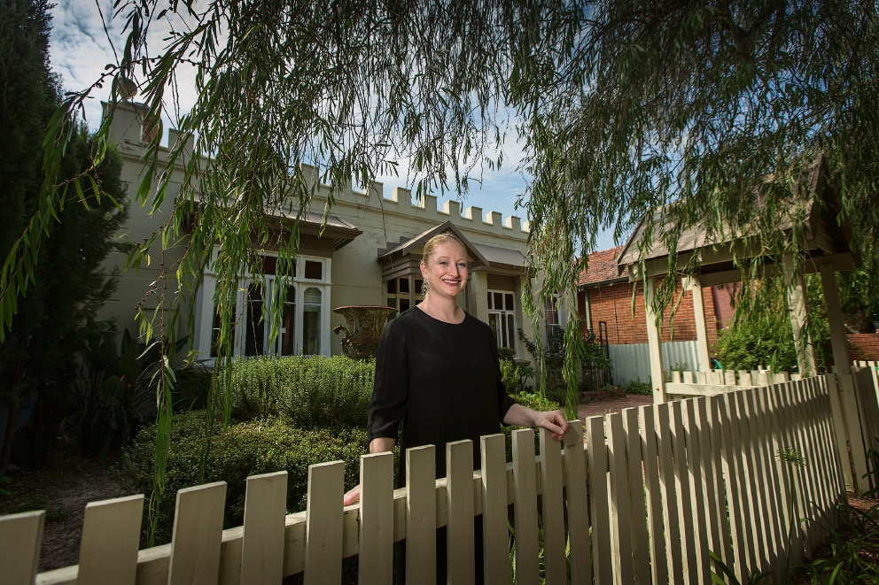 Jade Lippiatt, who owns The Castle, wants the handsome 125-year-old house to remain on the City's Heritage Inventory. Picture: Will Russell        www.communitypix.com.au   d467601