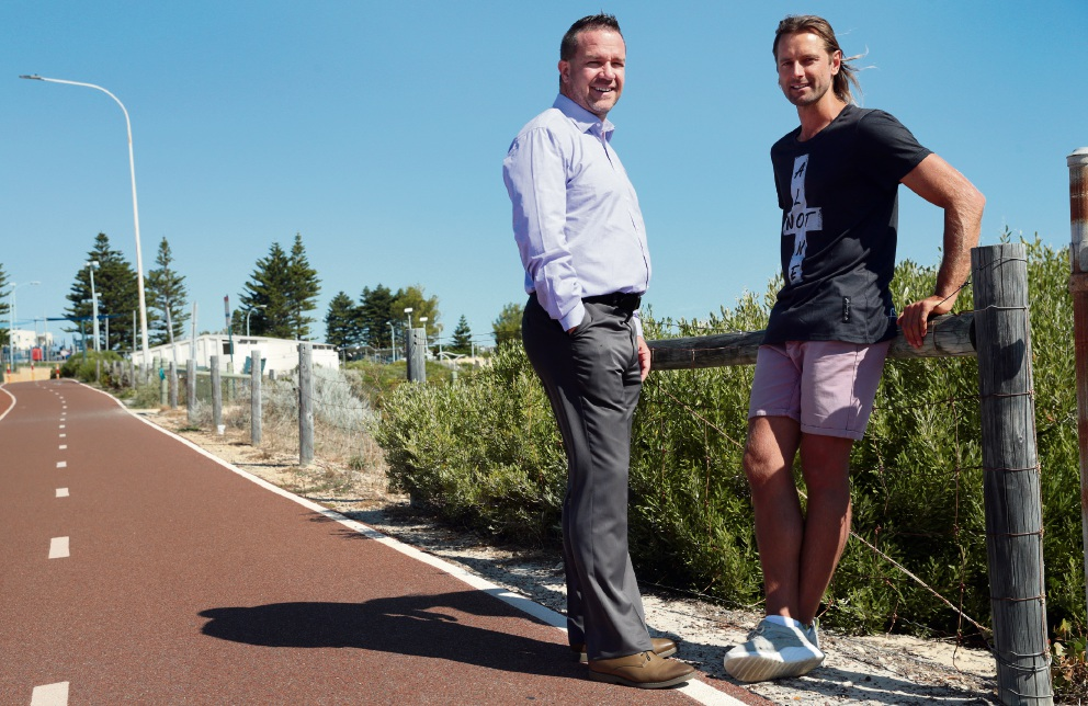 Joondalup Mayor Troy Pickard with Colin Luthwood. Picture: Martin Kennealey d466257