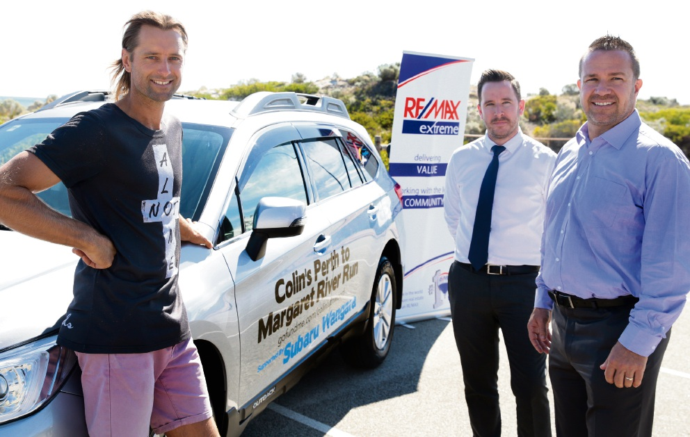 Colin Luthwood, Suburu Wangara new car sales manager Liam Manning and Joondalup Mayor Troy Pickard. Picture: Martin Kennealey d466257
