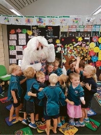 Ocean Road Primary School students were excited to meet with the Easter Bunny. THE Easter Bunny visited students at Ocean Road Primary School on Thursday. Students were excited to meet him as he presented Easter raffle winners with their prizes.