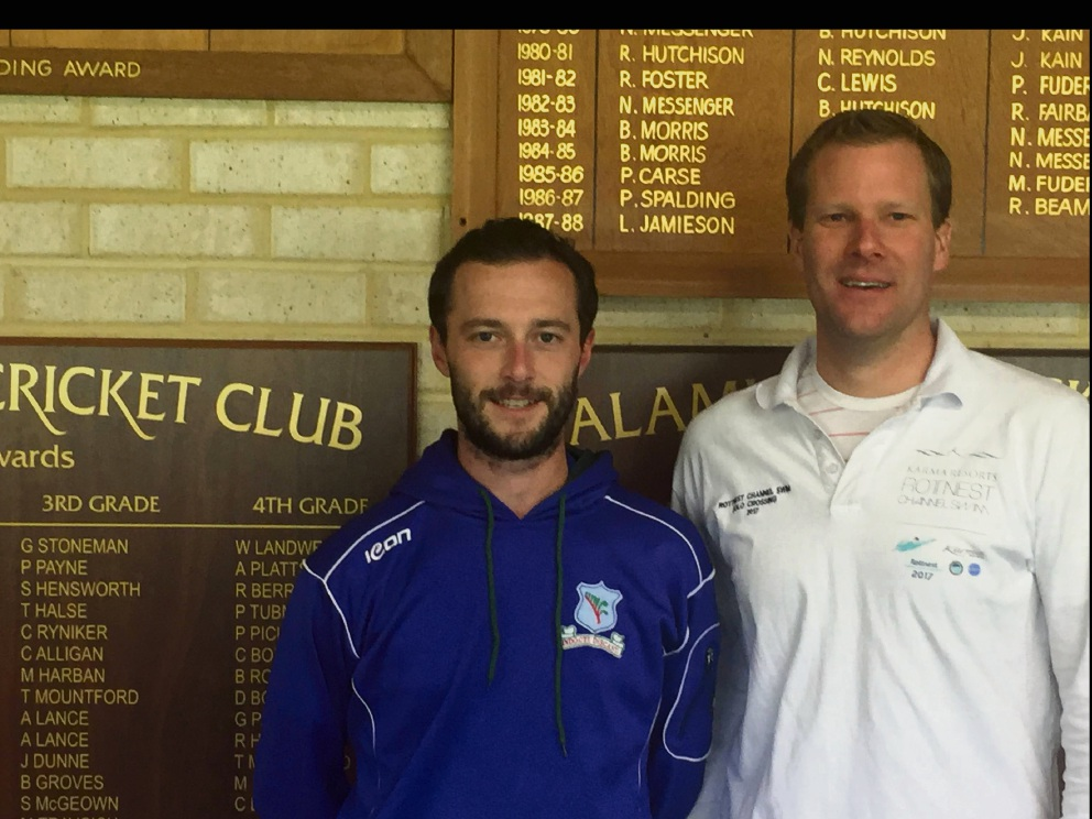 Kalamunda Cricket Club president Glen Doherty and Richmond Wellbeing operations executive manager Adrian Munro.