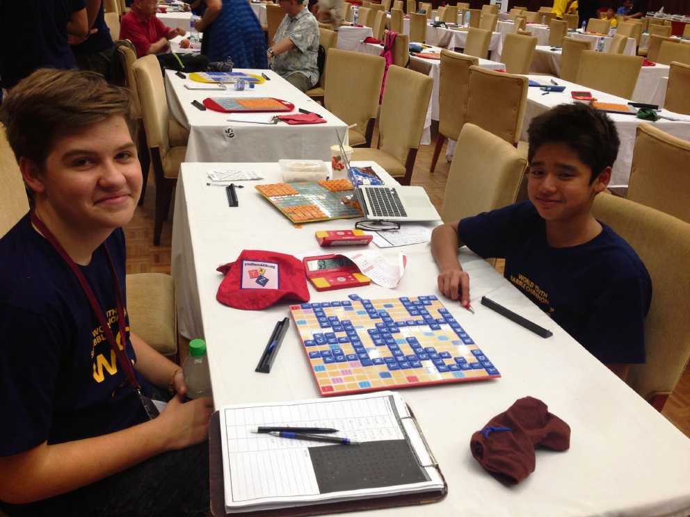 Como resident Tim Mason and fellow WA Scrabble player Rahul Jegathesan in action.
