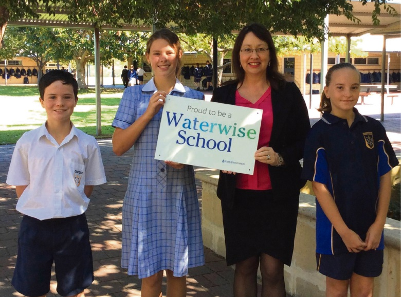 Mandurah Baptist College Primary School students Spencer Gormley and Tristen Beier with Water Corporation marketing and customer education manager Anjelika Fawcett and Cassidy Lang.