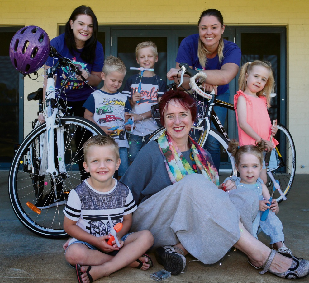 Alex Biddle, Louise Leadbitter and (front) Jenny Simpson from Awesome Arts with brothers Jaxon, Tyler and Blake Nicol and sisters Delaney and Merideth Kaminskis.  Picture: Martin Kennealey    d467911