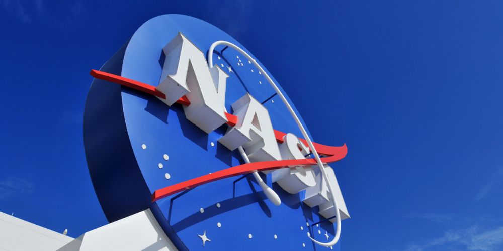 NASA's Logo Signage at the Kennedy Space Center, NASA in Florida, USA.