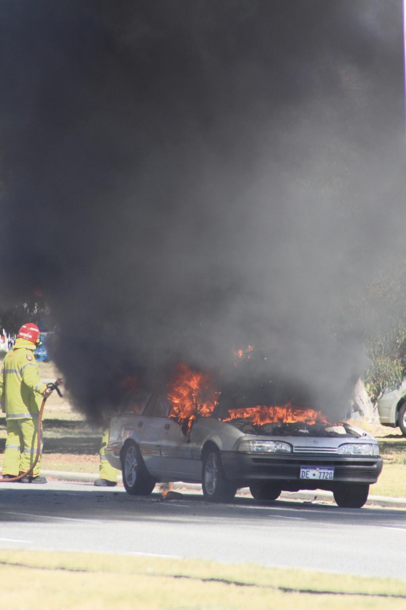 Rockingham motorist has lucky escape after car bursts into flames