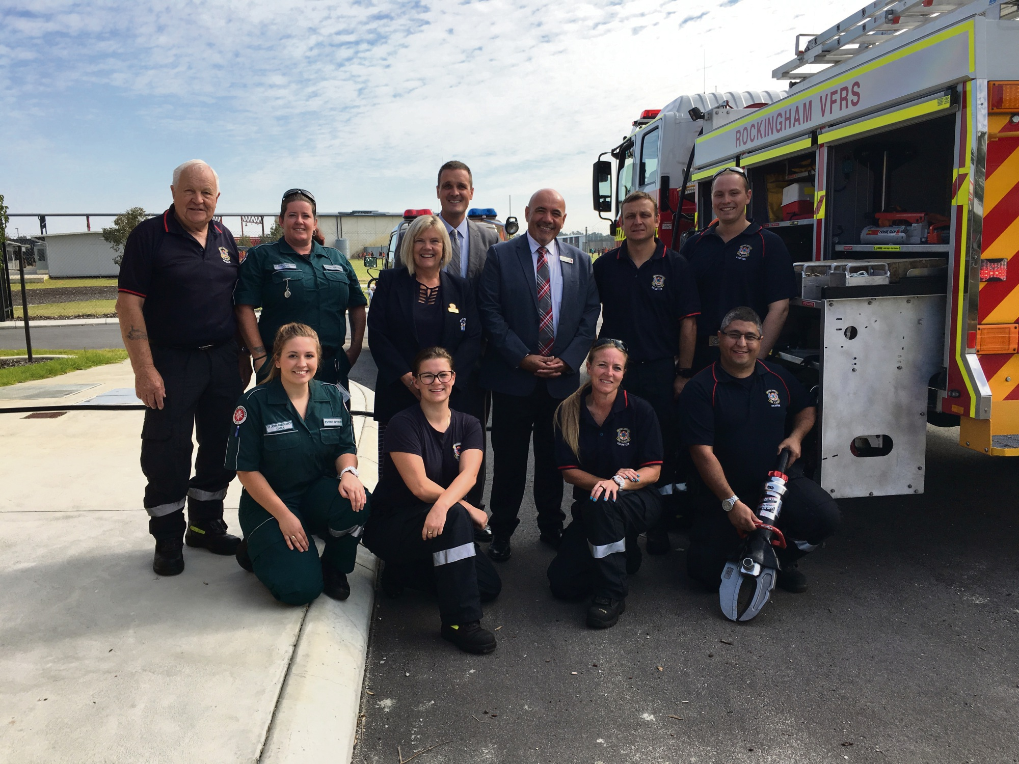 Deputy Mayor Deb Hamblin, Councillor Matthew Whitfield and Rivergums Primary School Principal Josh Jashari (centre) with officers from St John Ambulance and Rockingham Volunteer Fire and Rescue Service at the City's Blessing of the Roads Ceremony.