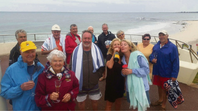 Mal and Alma Dempsey (bottom left) celebrated their 60th wedding anniversary on Thursday with their usual swim with friends at Watermans Bay.