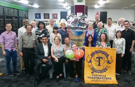 Gosnells Foothills Toastmasters members celebrated the club's 25th anniversary recently.