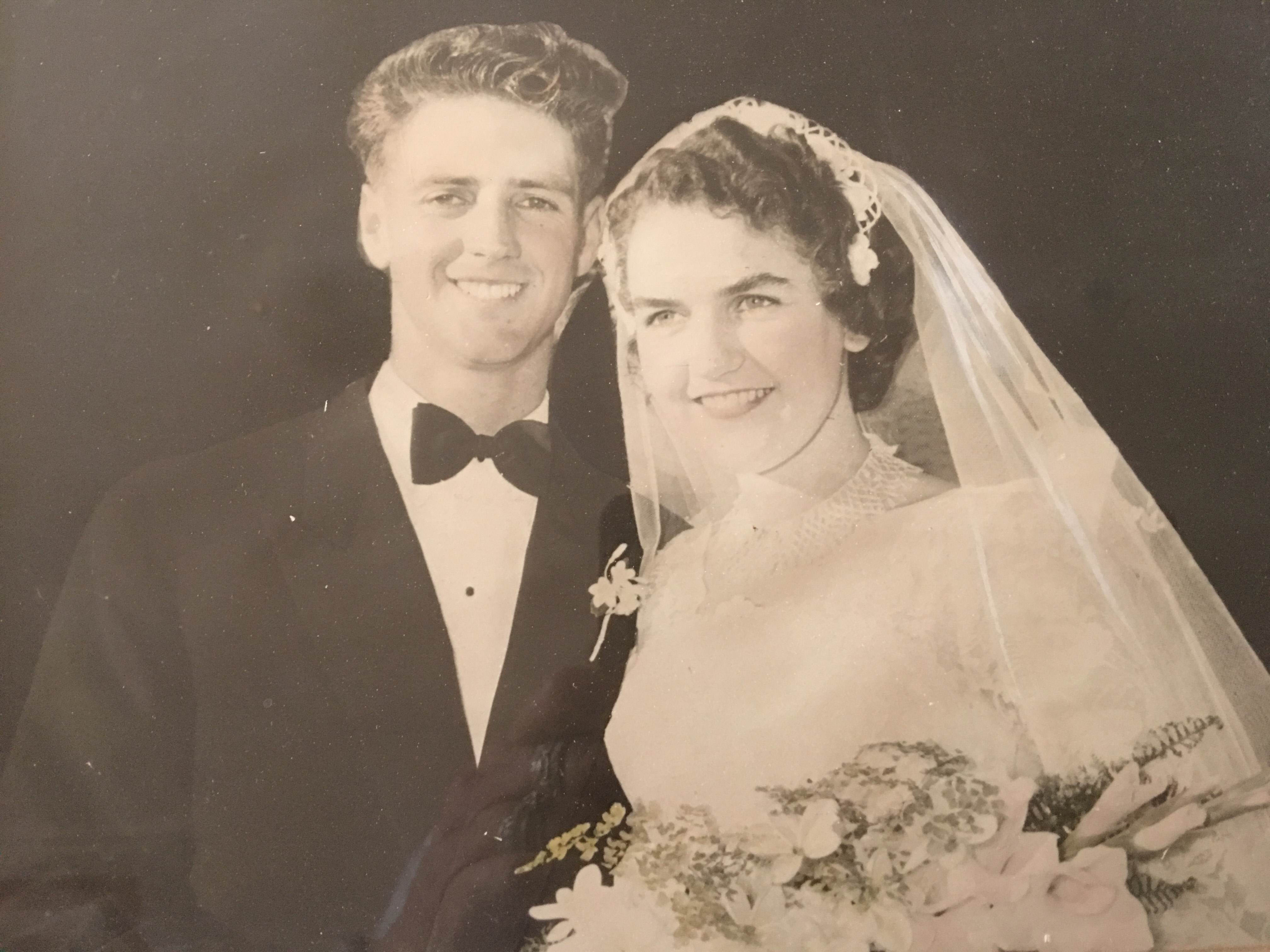 Mal and Alma Dempsey on their wedding day 60 years ago.