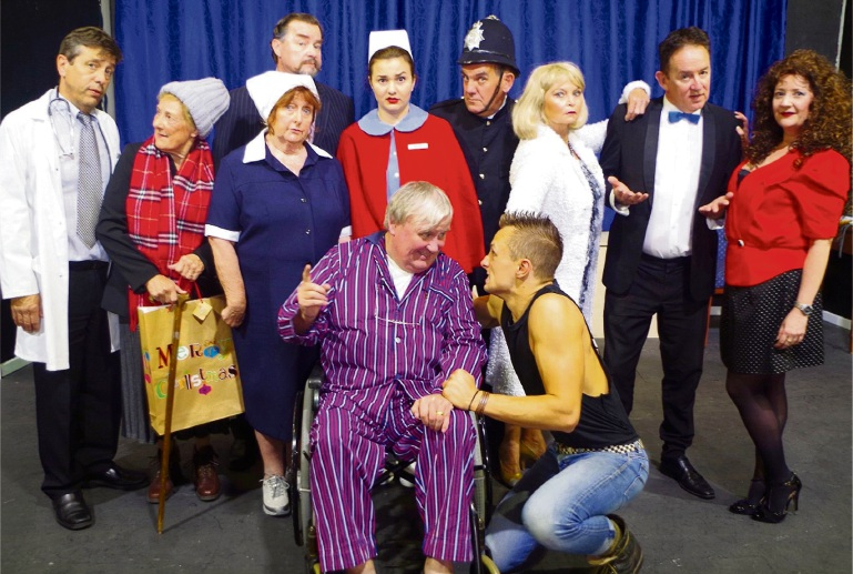 The cast of It Runs In The Family: Chris Juckes, June Adams, Kerry Goode, Les Lee, Catherine Dunn, Peter Boylen, Colleen Hopkins, Gordon Park, Fiona Forster and, at front, Roger Oakes and Oliver Bourne.