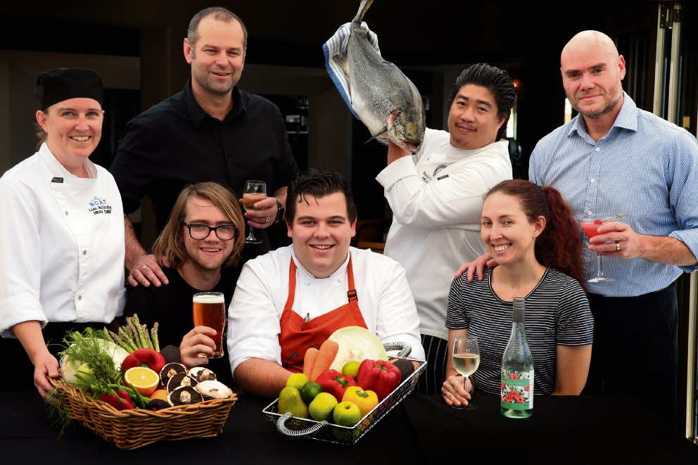 Lisa McCarthy (head chef -The Boat), Luke Symmonds (venue manager), Brody Watts (brewer), Elliott Doyle (head chef-Pavillion and Cabana), David Evangelista (head chef-Indian Ocean Brewing Company), Lydia Schubert (Indian Ocean Brewing Company) and Brett Kuper (Operations Manager) get ready for A Toast to the Coast. Picture: Martin Kennealey