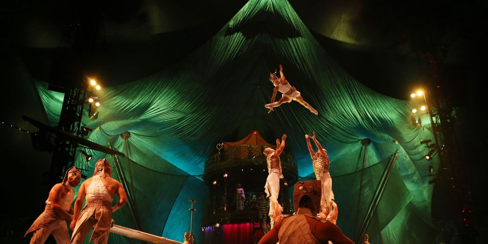 Charivari, a machine gun burst of acrobatics, rapid-fire costume changes and rebounds from three miniature trampolines