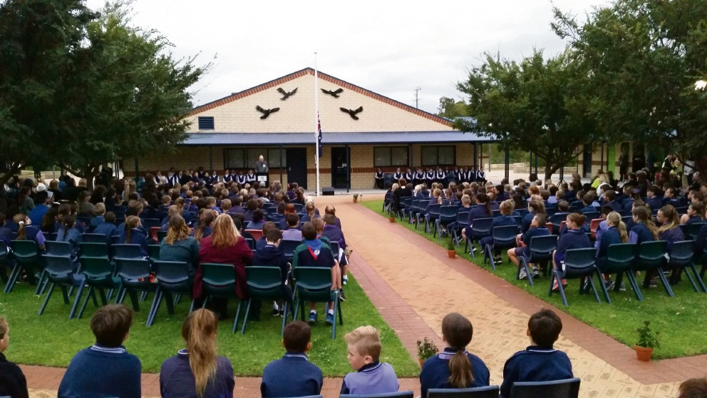 Students, teachers and parents attended the inaugural  dawn service at Wanneroo Primary.