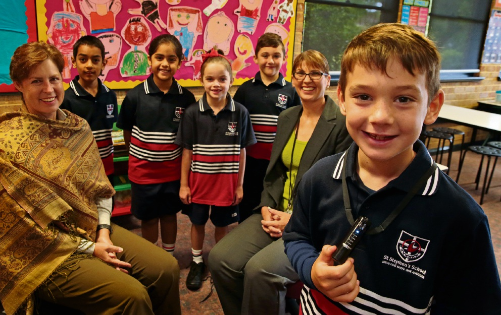 Head of St Stephen's Primary School Dr Darnelle Pretorius and teacher Sandra Corcoran with Year 2 students Raahul Shah, Jasmine Gill, Ivy George, Jackson Proctor and Zackary Caruso. Picture: Martin Kennealey www.communitypix.com.au   d465275