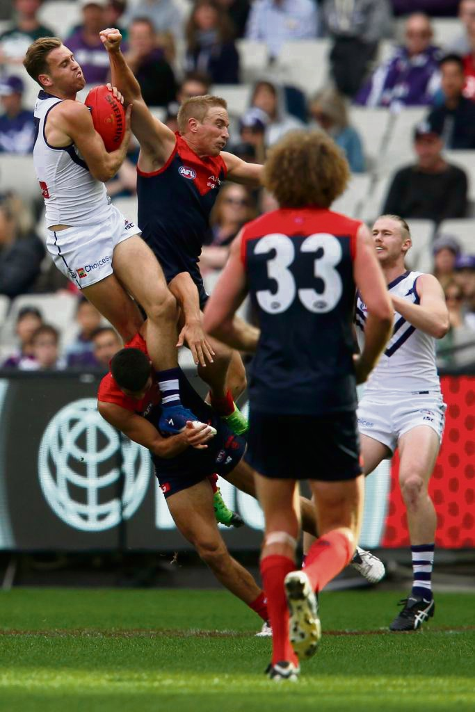 Fremantle's Hayden Crozier is a round 4 nominee for Mark of the Year after this grab during the Dockers' tense win over Melbourne on Saturday. Picture: Darrian Traynor/Getty Images