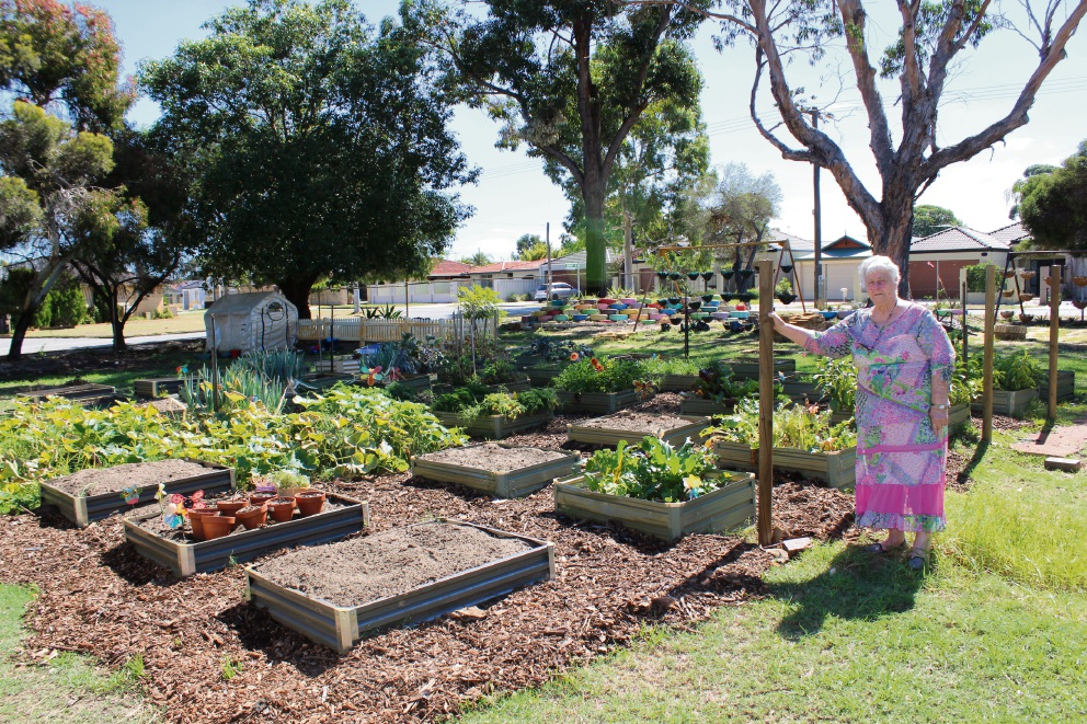 Bayswater City Community Safety Watch and Garden Eduation chairwoman Pat Lim at the garden.