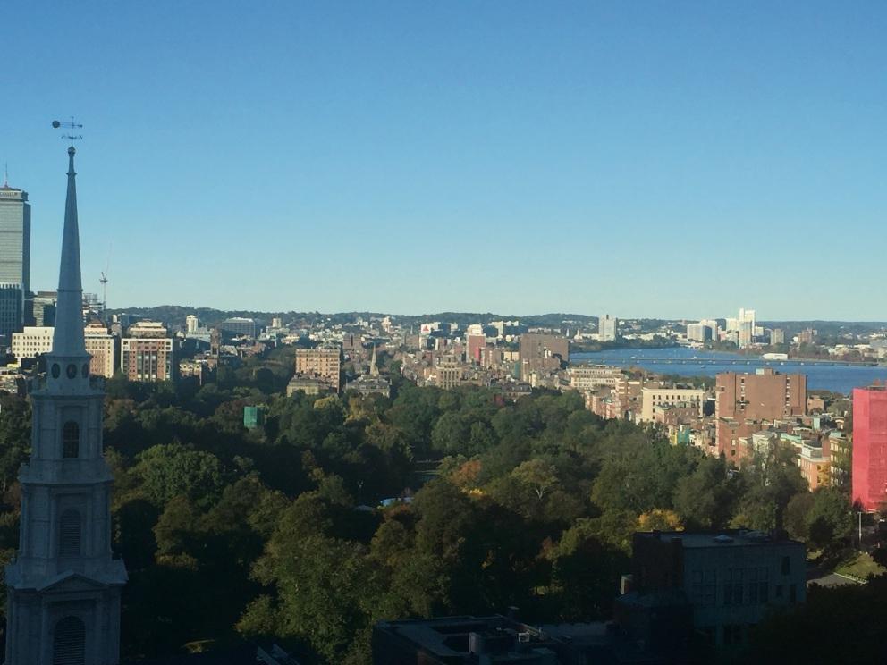 An aerial view of Boston from Nine Zero Kimtpon Hotel.