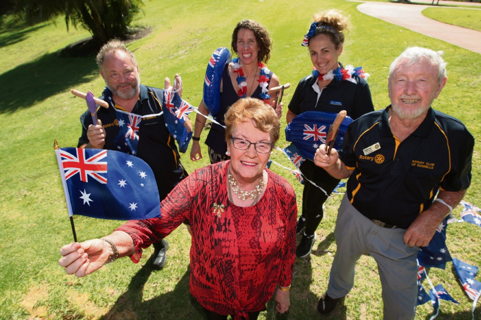 Rotary Club of Gosnells gears up for the Australia Day celebration, with Gosnells Mayor Olwen Searle, looking on at Henry Cheetham, Emma Scott, Carolyn Fisher and Brian Vale. There will be plenty of action on Australia Day in Armadale.