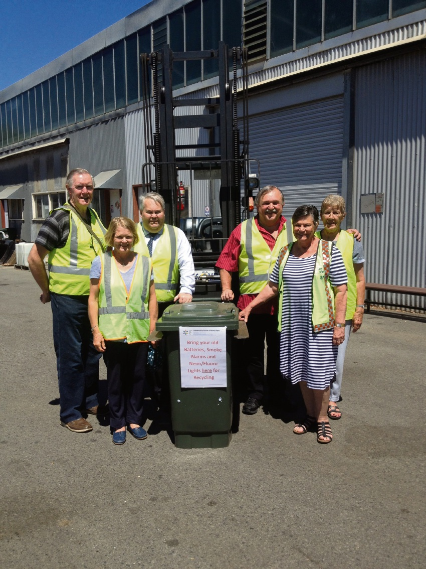 Community Forum Victoria Park members Peter McKenzie, Jeanette McPhee, David Ashton, Jan Jermalinski, Sandra Brown, Morag Crofts are encouraging people to bring recyclable items to the Victoria Park Farmers Market.