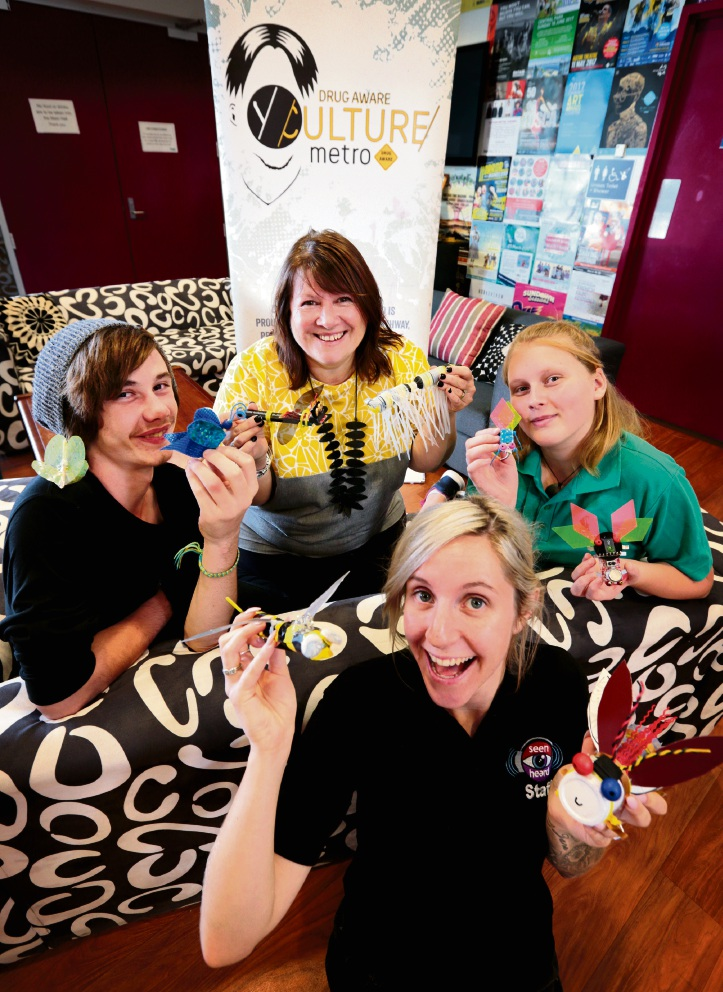 (front) Sebastian Flynn (15), Mary-Ann Dawson (Workshop Tutor) and Ainsley Maree Whyatt (13) with (front) Anabelle Johnson (Youth Development Officer with Seen and Heard). Picture: David Baylis