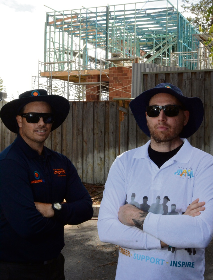 MelonomaWA founder Clinton Heal and sufferer Brad Gray have the tools to protect from the sun. Picture; Jon Bassett