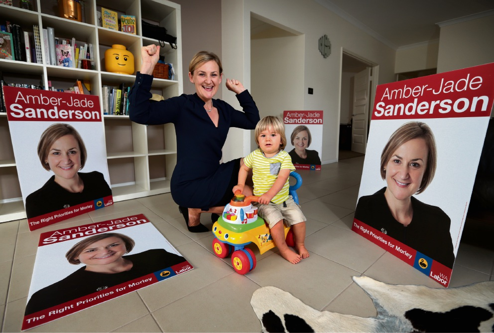 Amber-Jade Sanderson and her 18-month-old son Hugo celebrate her win in the seat of Morley. Picture: David Baylis www.communitypix.com.au   d466527