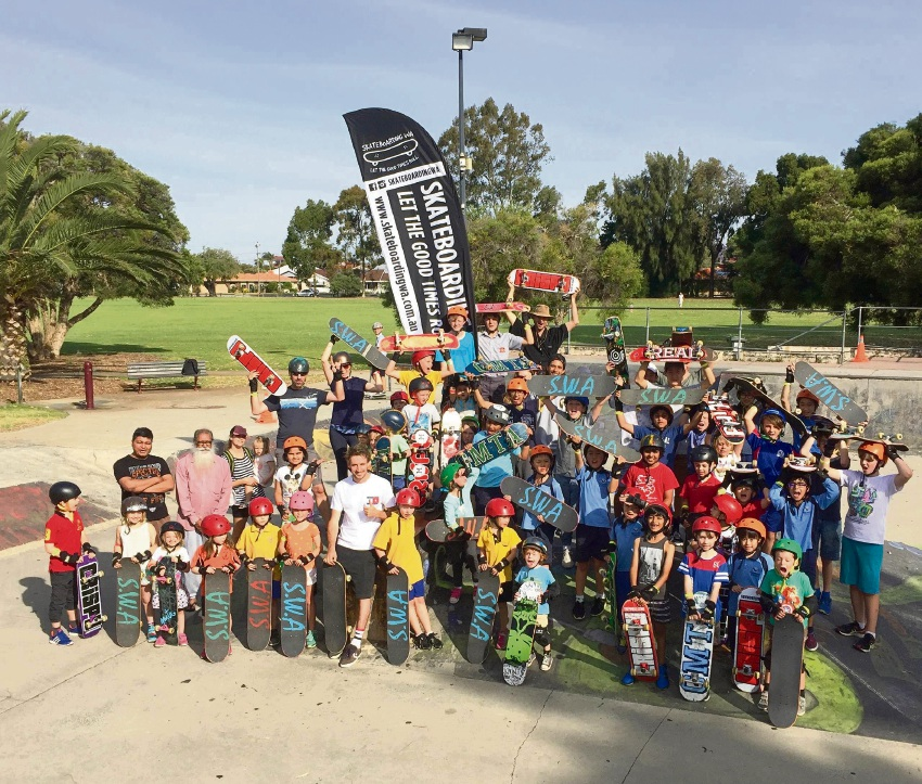 Participants at the kkateboarding clinic held on March 2.