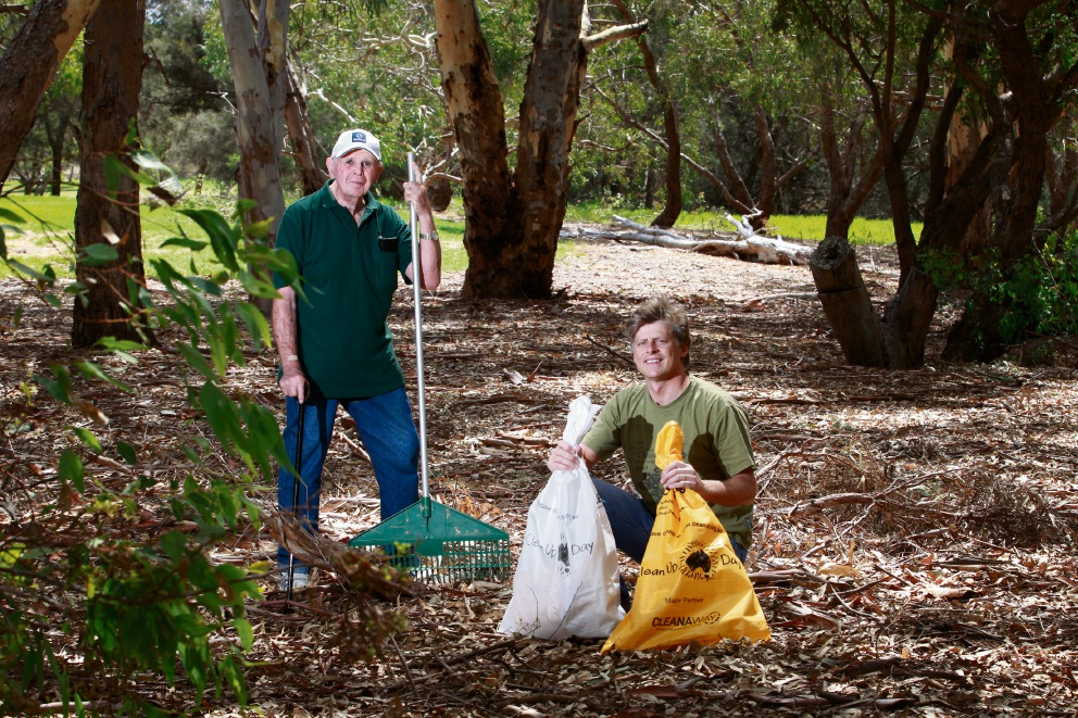 Canning River Regional Park volunteers/members Richard Stone and Thor Kerr getting ready for Clean Up Australia Day Picture: Marie Nirme