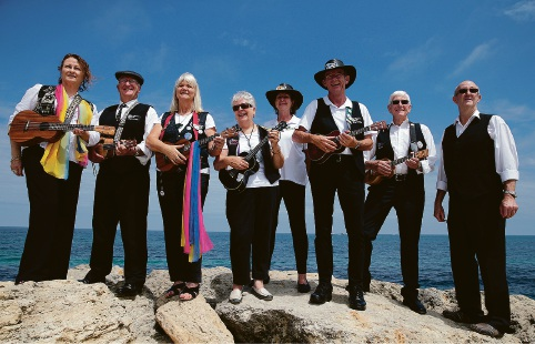 Ukulele group members Marilyn McCutcheon, John Johnston, Gail Harris, Jenny Wigmore, Gay Lalor, Michael Lalor, Robin Wigmore and Graeme Huxford. Picture: Martin Kennealey