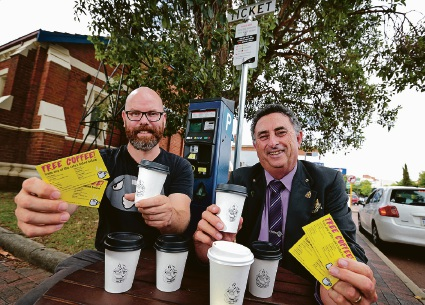 James Daly (Owner of Carpe Coffee in Midland) and Mick Wainwright. A parking intiative has been started by the City of Swan to hand out coffee vouchers for people doing the right thing with parking. Picture: David Baylis