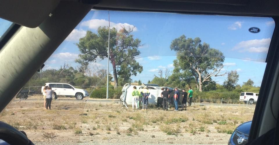 One of the cars reportedly involved in a traffic crash on the Kwinana Freeway. Picture: Jen Bullock/Facebook.