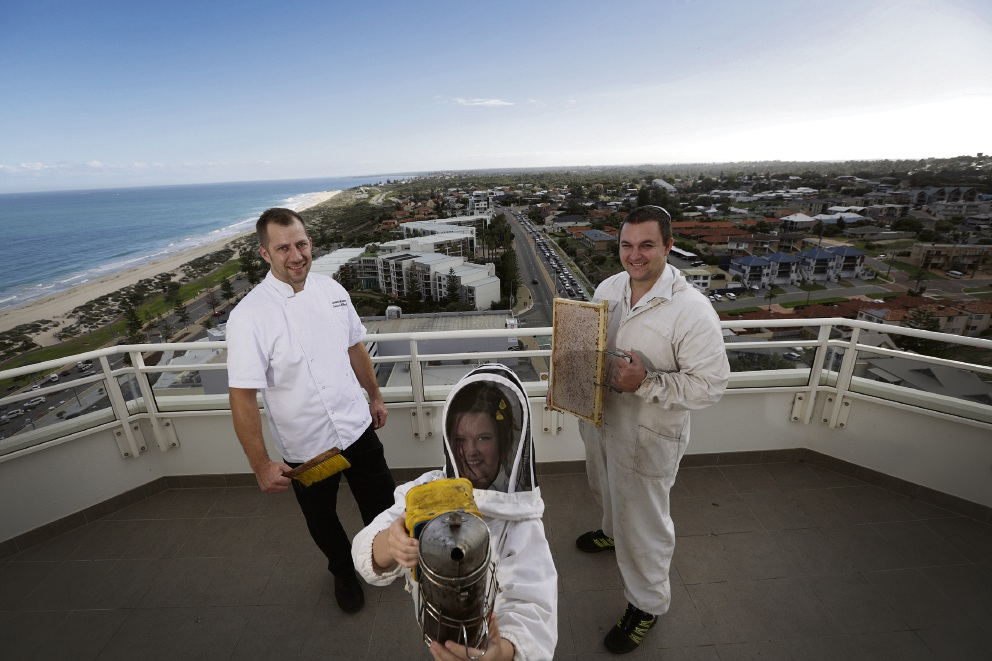 Rendezvous chef Wendelin Ulrich with Alythea Campbell (9) and her dad Tristan Campbell from Honey I'm Home Produce on top of Rendezvous Hotel. Picture: Andrew Ritchie
