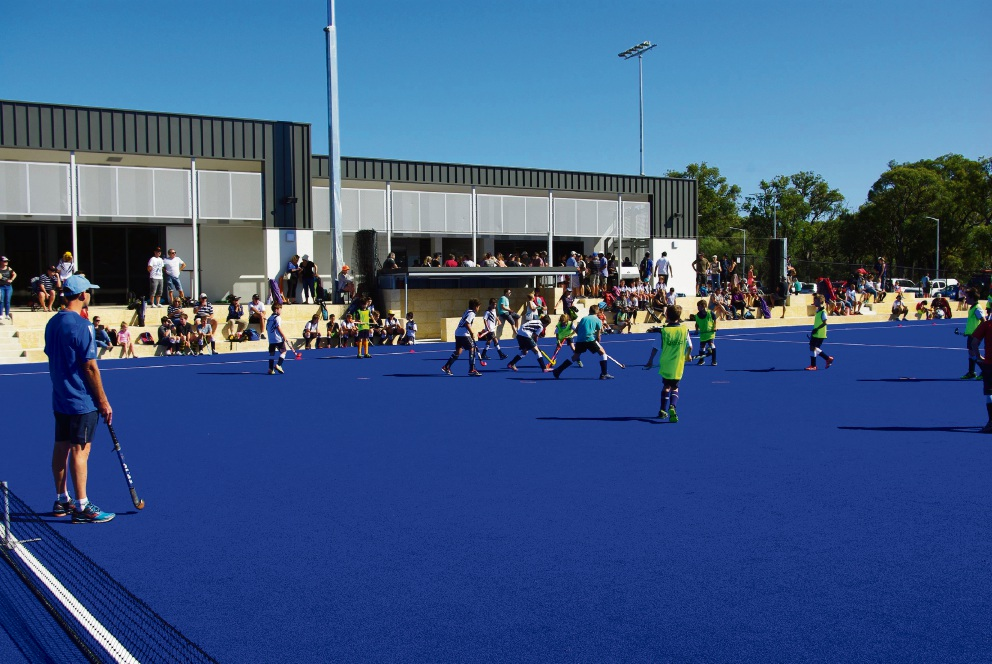 Whitford Hockey Club members try out the new facilities at Warwick Hockey Centre.