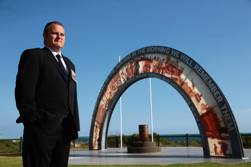 Brad Kay at the Ocean Reef memorial. Picture: Martin Kennealey        www.communitypix.com.au   d468072