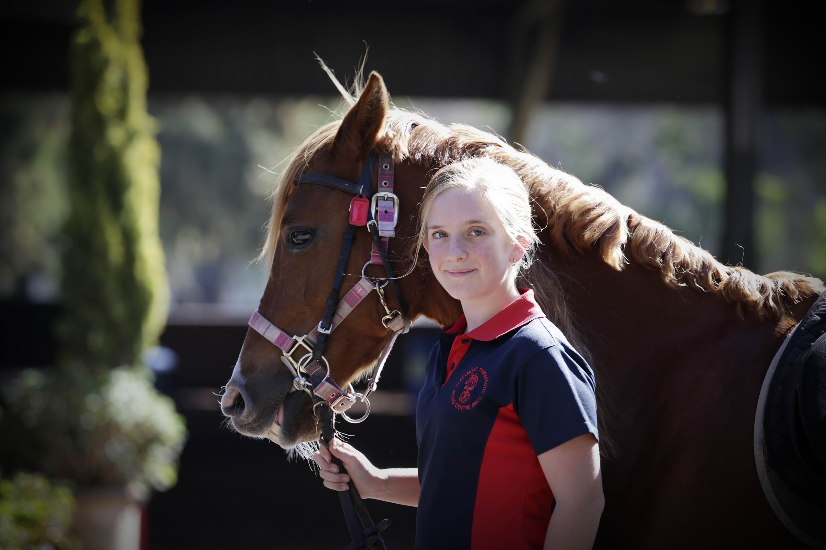 Jaye Barnesby-Buie (14) had anxiety and autism and did not speak until she was six. Therapy and appropriate schooling means its hard to pick it now, and she recently recieved a Variety Scholarship over $3000 to cover costs associated with her twice-weekly rides.