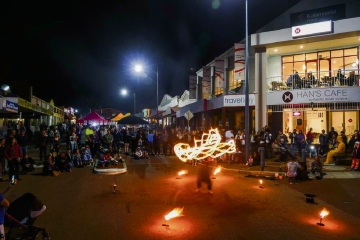 Brendan and his firesticks at Kalamunda Night Market.