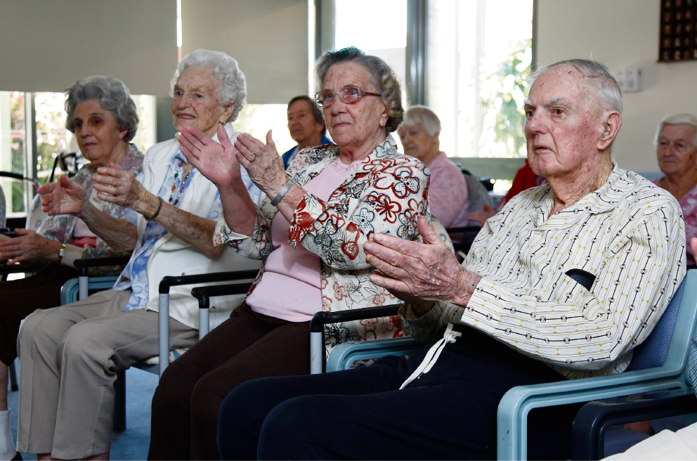 Enjoying a SitDance class are residents at Swan Care's Waminda Aged Care in Bentley. Picture: Marie Nirme