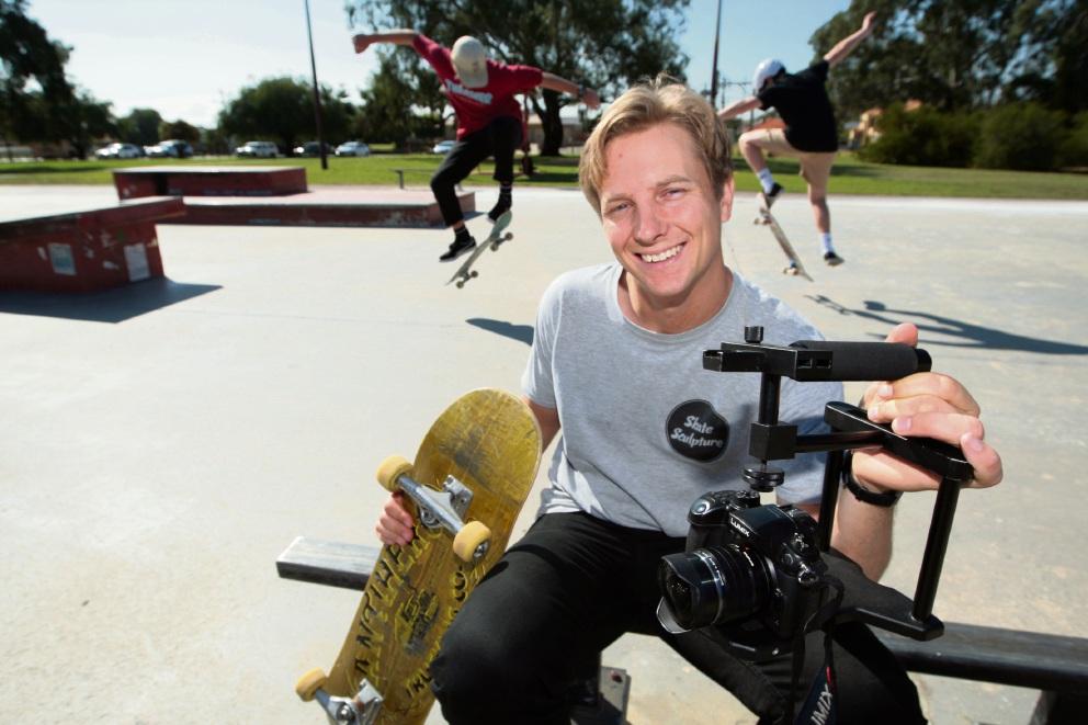 Mat de Koning at Morley Skate Park. Picture: Bruce Hunt d468200