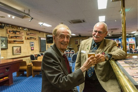 Ian Raymond (89) and Vietnam veteran Ron Brown (71) enjoy a beer and a laugh at the Riverton RSL. Picture: Emma Geary
