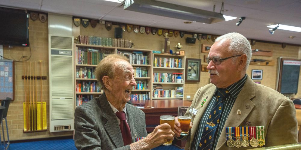 Ian Raymond, 89, and Ron Brown, 71, remember their days in the Australian Armed Forces at Riverton RSL.