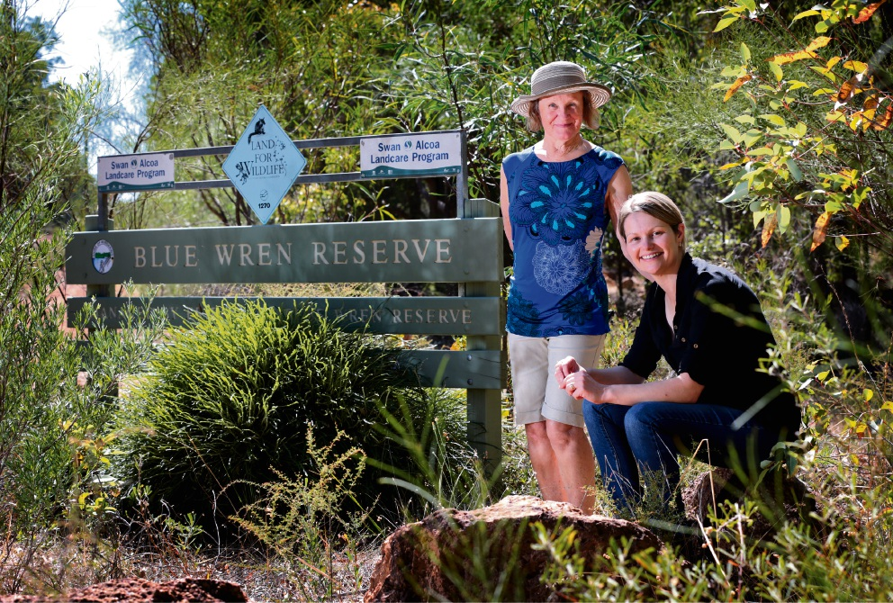 Sandy Stone, of Stoneville, and Kathryn Johnson, of Gidgegannup, at the Blue Wren Reserve in Stoneville. Picture: David Baylis    d467992
