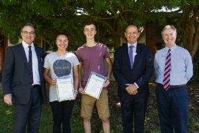Top-performing graduating students from 2016 recently returned to the school. Pictures: Jayden Brand