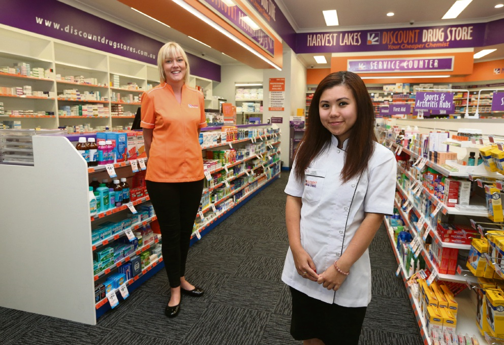 Harvest Lakes Discount Drug Store retail manager Kat Findlay and pharmacist manager Denise Poon. Picture: Matt Jelonek           d468228