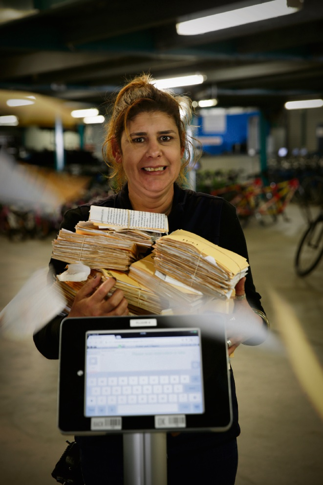 Christine Lilly from Pedal and Flipper with the new booking system which gets rid of all the paper work. Picture: Andrew Ritchie